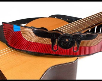 Guitar strap, leather guitar strap, handmade strap, Egyptian strap, winged sun strap, hand painted strap, banjo strap, acoustic strap