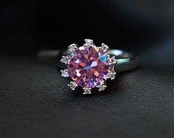Pink CZ Crystal Sterling Silver 925 Ring Size 6