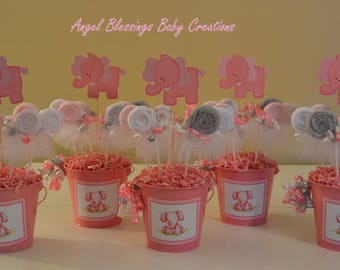 Elephant Baby Shower Centerpiece with Washcloth Lollipop Favors Made to Order for Baby Boys, Baby Girls, or Gender Neutral Showers