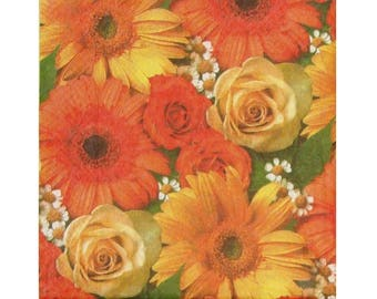 Set of 3 paper napkins PLA146 carpet roses and gerbera daisies in shades of yellow orange