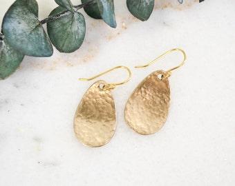 Minimalist Earrings   Dangle Earrings   Simple Earrings   Hammered Earrings   Gold Drop Earrings   Teardrop Earrings   Modern Earrings