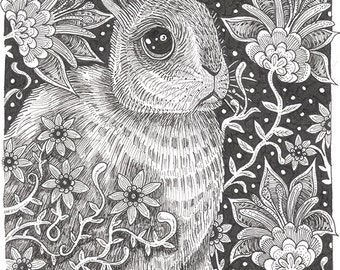 "Rabbit Ink Drawing 14 - 8 x 10"" ART PRINT of a whimsical rabbit in a whimsical flower garden setting perfect for children and adults alike"