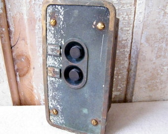 Vintage UP DOWN Industrial Factory Warehouse Elevator Switch Control Box Industrial Salvage