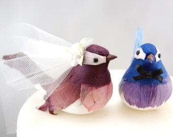 Cheeky Chickadee Wedding Cake Topper in Blue and Purple: Bride & Groom Love Bird Cake Topper