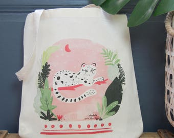 """Eco-friendly cotton Tote bag """"Clouded leopard"""" - Natural /Fair trade/ Organic / Illustration- Green/Mint/Pink - Tropical/Summer/Jungle"""