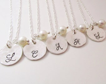 Personalized Bridesmaid Jewelry - Bridesmaid Necklaces - Set of 5 - Bridesmaid Initial Necklace -  Custom Initial Necklace