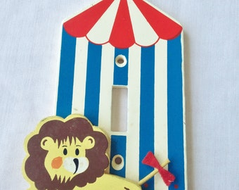 vintage irmi lion circus switch plate cover handpainted wooden
