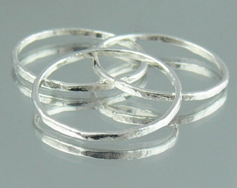 Fine Silver Skinny Rings / Stacking Rings - Set of Three - Hammered Texture Fused Rings - Custom Made to Order Recycled Silver Jewellery
