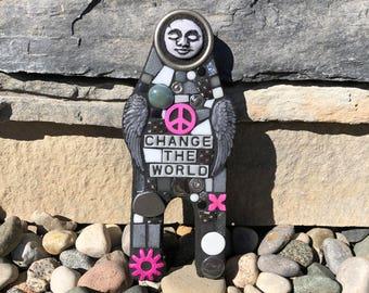 Change The World. (A Handmade Mixed Media Mosaic Art Doll by Shawn DuBois)