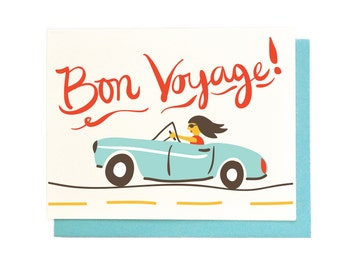 Bon Voyage Card - best wishes traveling hand illustrated greeting card