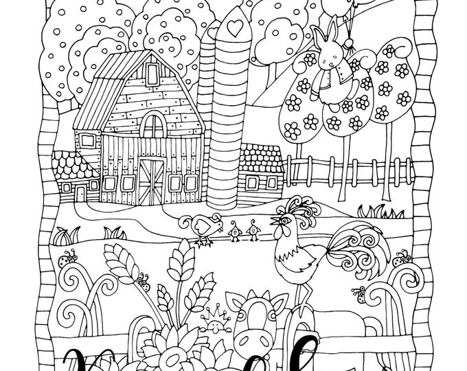 Featured listing image: Happyville Farm Life, 1 Adult Coloring Book Page, Printable Instant Download, Farm Animals