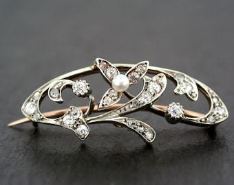 Antique Diamond Brooch - Edwardian Diamond & Pearl Brooch - 18ct Gold and Platinum
