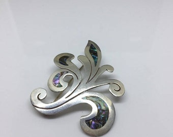 2018 Mexico Sterling and Inlaid Abalone Fleur Brooch 1950s
