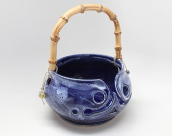 Yarn Bowl in Dark Blue with a Bamboo Handle