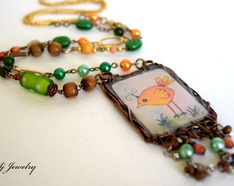 """Whimsical Moments """"Crazy Bird"""" Necklace"""