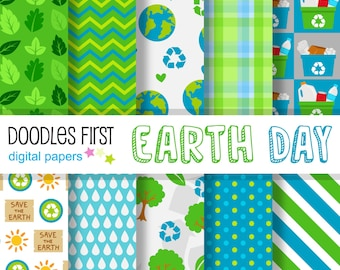 Earth Day Digital Paper Pack Includes 10 for Scrapbooking Paper Crafts