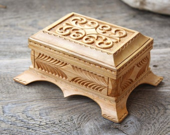 Jewelry casket box vintage wood trinket box carved wooden box antique jewelry box chest box ranch decor rustic decor handmade handcarved box