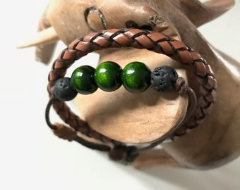 Leather bracelet with genuine lava stones