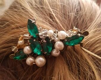Emerald Elegance green beaded hair comb