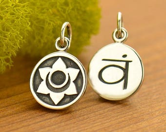 Sacral Chakra Charm Sterling Silver Sacral Chakra Pendant, Chakra Symbol Charm, Second Chakra Charm, 2nd Chakra Charm,Yoga Charms, 16.5x10mm