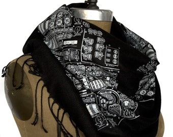 NASA Scarf Astronaut Apollo Cockpit Moon Lander diagram science scarf Apollo Cockpit black pashmina scarf Astronaut scarf science gift