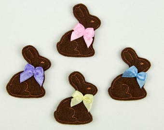 BUNNY - Embroidered Felt Embellishments / Appliques - Chocolate Brown (Qnty of 4) SCF1000