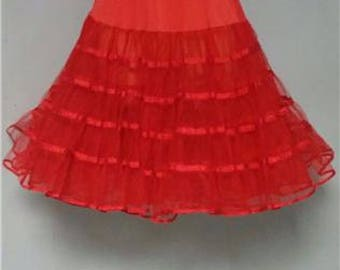 Red Crinoline Rockabilly Pin up Very Full Small #325
