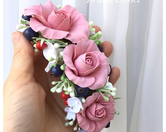 Headband With Dusty Pink Roses And Berries, Flower Girl Headband, Hairpiece With Dusty Pink Flowers, Wedding Headband, Wedding Accessories