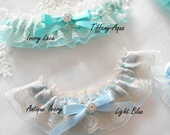 Wedding Garter Set 5 Lace Colors Over Organza Wedding Garter Gold or Silver Setting Pearl or Rhinestone