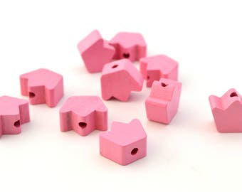 1 Crown pink wood bead