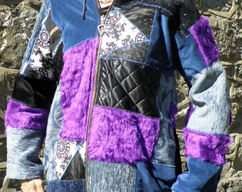 One Off Patchwork Hooded Jacket  Blues Black & Purple   Size M
