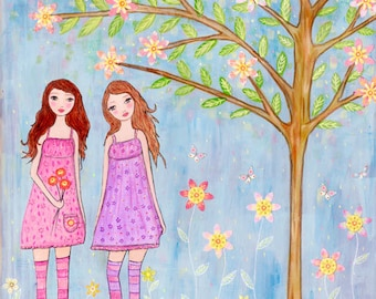 Whimsical Sister, Twins, Best Friend Art Print, Whimsical Folk Art