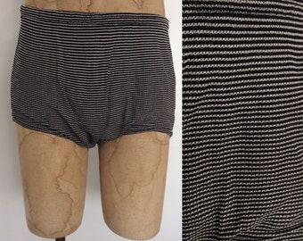 1940's Striped Men's Wool Swimsuit Size Small Medium by Maeberry Vintage