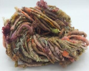 """Handspun Art Yarn, """"Woodland"""", earthy, hand dyed, 18 yards, corespun textured art yarn, bulky yarn, weaving yarn"""
