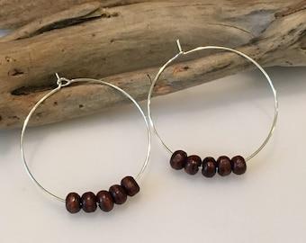 Hoop Earrings, Natural Brown wood,Silver, Seed Bead Hoop Earrings, beads, 1 1/2 Round hoops, Boho Earrings