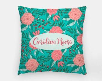 Pillow - Custom name - Tropical Turquoise