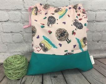 Sheep Boat Knitting Bag, Crochet Bag, Yarn Bag, Knitters or Crochet Gift, Project Bag, Sock knitting bag