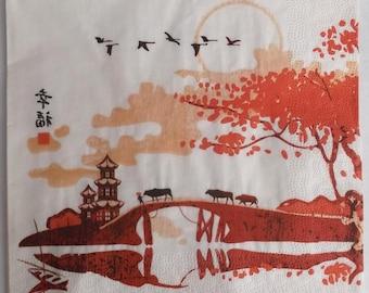 10 napkins - TEMPLE and bridge of Asian art   3778