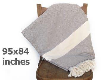 Tagesdecke Bettdecke türkische werfen Decke Sofa Cover Baumwolle werfen Strand Decke Tischdecke Möbel Wurf Diamant grau XXX große 240 x 210cm