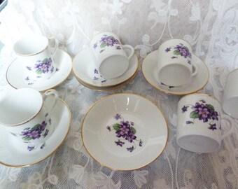 Fine porcelain tea / coffee service / purple decor /