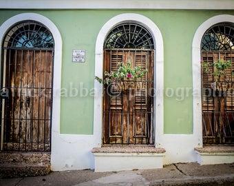 Old San Juan Puerto Rican Doors Photo Fine Art Photography Puerto Rico Colorful Art Bedroom Office Bathroom Home Decor Doors Photography