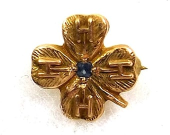 4H Lapel Pin Probably 10K Gold with Blue Sapphire