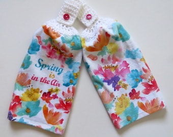 Spring Is In The Air Crochet Top Kitchen Hand Towel Set of 2