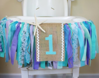 Under the Sea Highchair Banner, Mermaid Party, 1st Birthday Banner, Frozen Party, Elsa and Anna, High Chair Sign