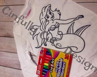 Coloring Tee Shirt INCLUDING Washable Markers for Girls or Boys or Adults