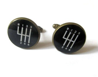 GEAR SHIFT CUFFLINKS - 5 Speed Cufflinks - Car Gear Shift Cufflinks - gift for him - husband gift - groomsmen cuff links - anniversary gift