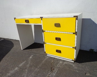 Vintage Campaign Desk Vanity Mid Century Desk MCM Asian Chinoiserie Brass Storage Console CUSTOM PAINT Available
