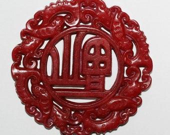 Carved Big Red Jade Pendant 69mm