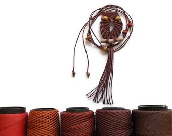 Maroon Macrame Owl Pendant Necklace