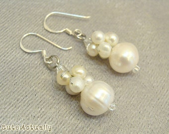 White freshwater pearl earrings with Swarovski crystal, bridal, dangle - sterling silver ear wires